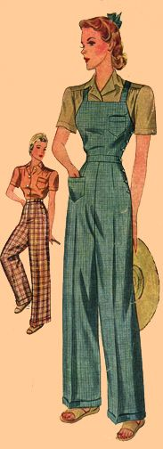 T40-3322  Ladies' Wide Leg Trousers and Overalls, circa 1940.    This pattern was offered to the American home sewing consumer by The Simplicity Pattern Company not long before wide leg trousers with cuffs went away for the War effort!
