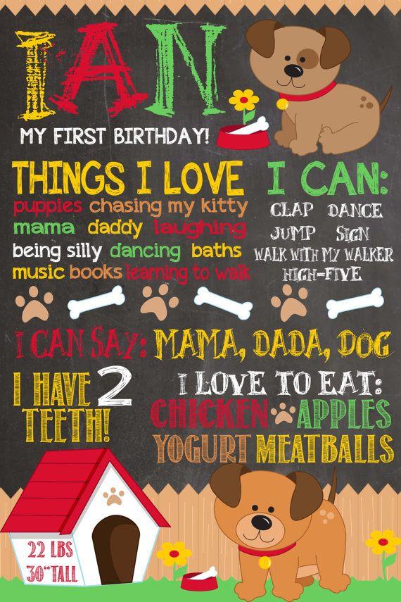First Birthday Chalkboard Puppy Dog Birthday by PlayOnWordsArt