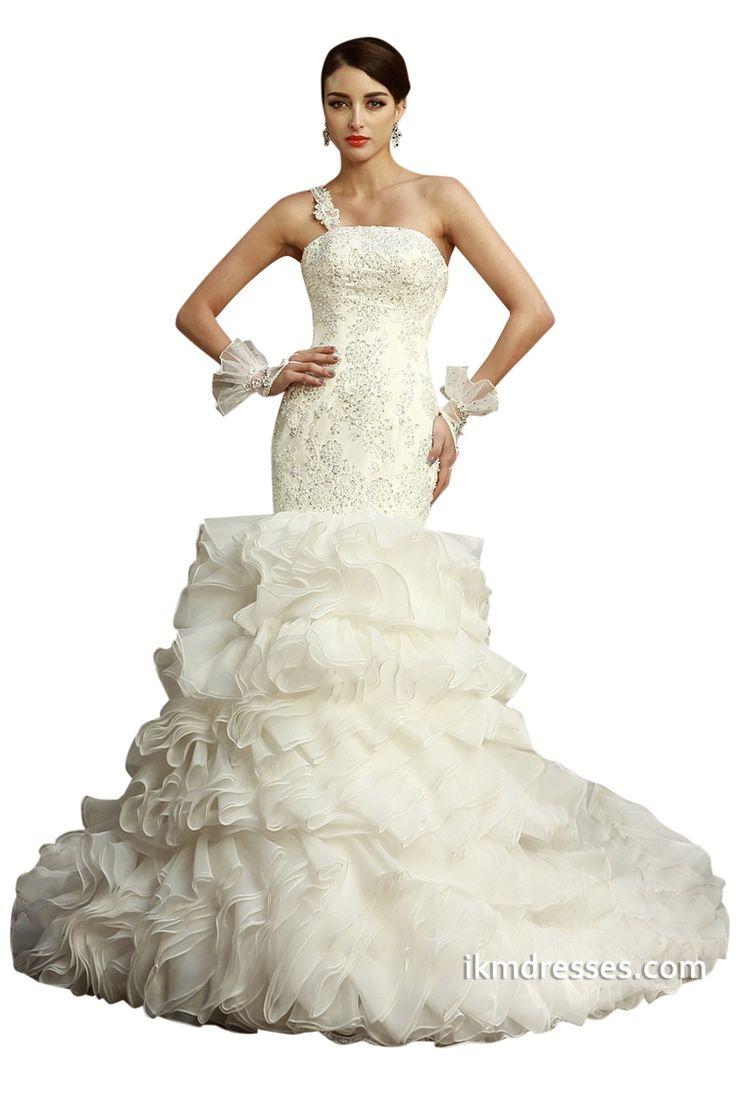 Elegant Mermaid One shoulder Ruched Wedding Dresses http ikmdresses