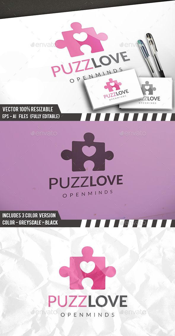 Puzzle Love Logo Template Vector EPS, AI. Download here: http://graphicriver.net/item/puzzle-love-logo/14120631?ref=ksioks