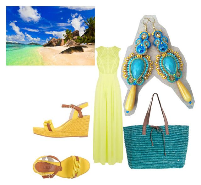 beach dress by galeriamagia on Polyvore featuring moda, Coast, GUESS and Flora Bella