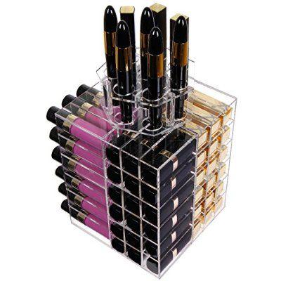 Langforth Organizador De Maquillaje Acrílico Para Pintalabios Barra De Labios Caja De Almacenamiento De 80 Ranuras Forma Giratoria De Torre