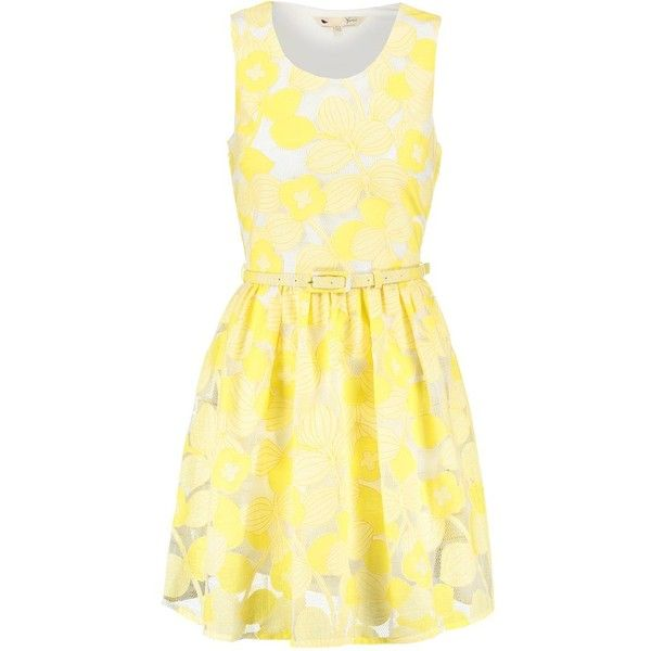 Yumi Summer dress ($81) ❤ liked on Polyvore featuring dresses, yellow, beige summer dress, yellow cotton dress, beige short dress, sleeveless summer dresses and cotton dresses