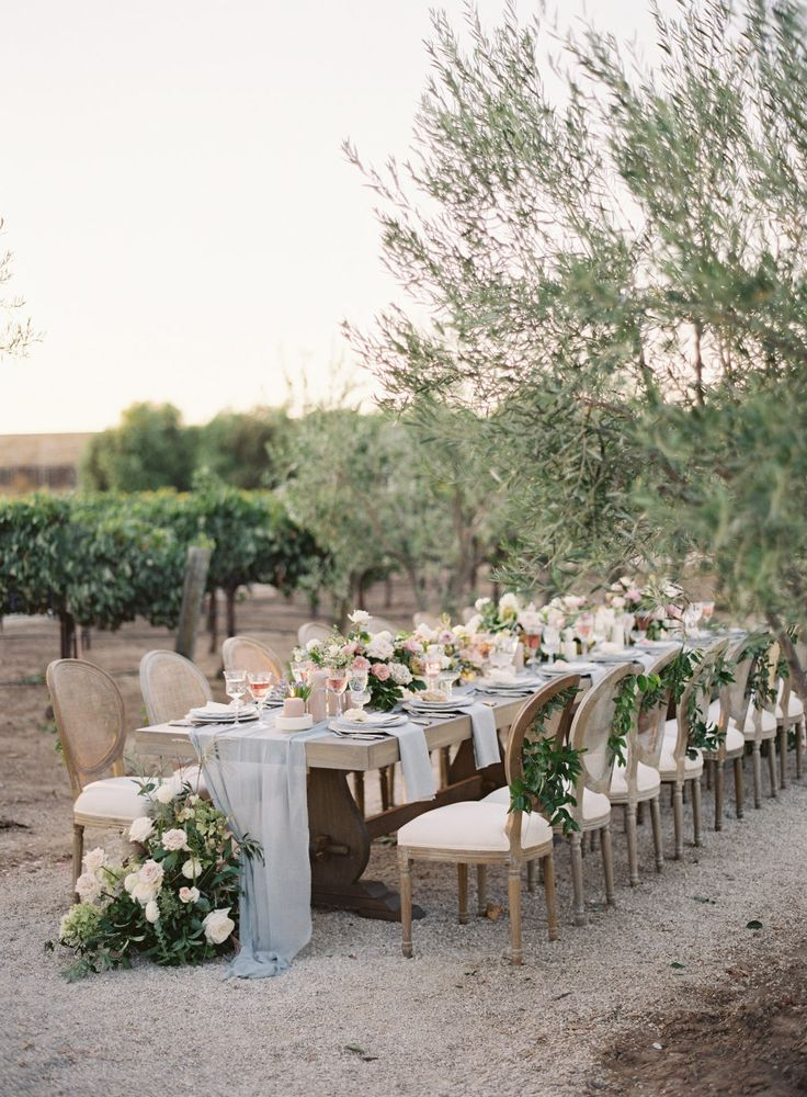 beautiful wedding locations in southern california%0A romantic al fresco light blue California winery wedding reception    Photography  Kurt Boomer