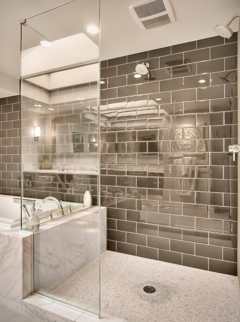 : Bathroom Design, Idea, Glasses Tile, Masterbath, Bathroomdesign, Glasses Shower, Subway Tiles, Contemporary Bathroom, Master Bathroom