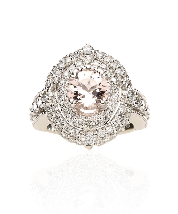 Morganite, diamond and white gold ring representing divine love. Jenna Clifford Designs | Fine Jewellery › Rings