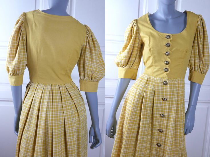 German Vintage Trachten Dress, Yellow White Plaid Puffed Sleeve European Prairie Dress, Button-Down Bavarian Dress: Size  10 US, 14 UK by YouLookAmazing on Etsy