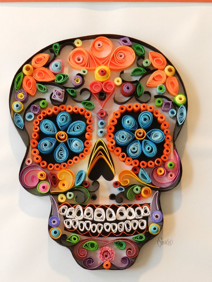 Sugar Skull Paper Quill, Day of the dead art by SavicArt on Etsy https://www.etsy.com/listing/222799366/sugar-skull-paper-quill-day-of-the-dead