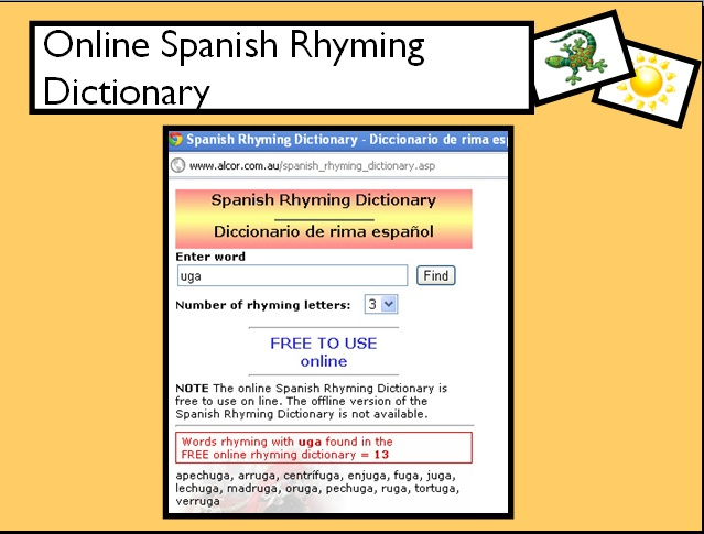 Online Spanishi Rhyming Dictionary