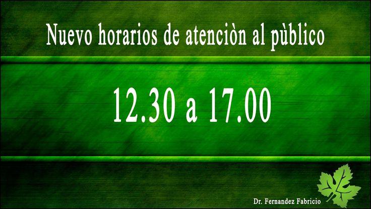 Nuevo horarios de atención al publico, estudio jurídico Dr. Fernandez Fabricio