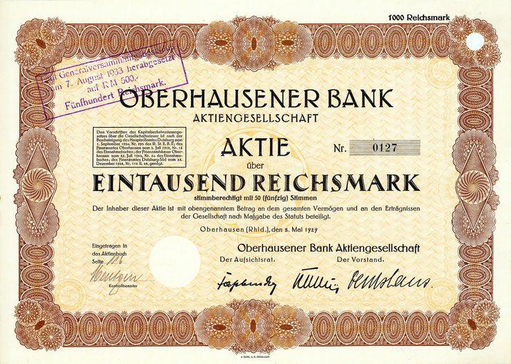 Oberhausener Bank, Oberhausen (Rhld.), Aktie 1.000 RM v. 1929 + ÄUSSERST SELTEN!