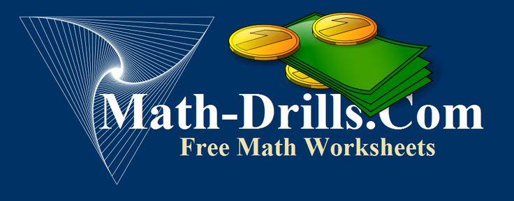 U.S. and Canadian money math worksheets including math worksheets with dollars and counting coins at Math-Drills.com.