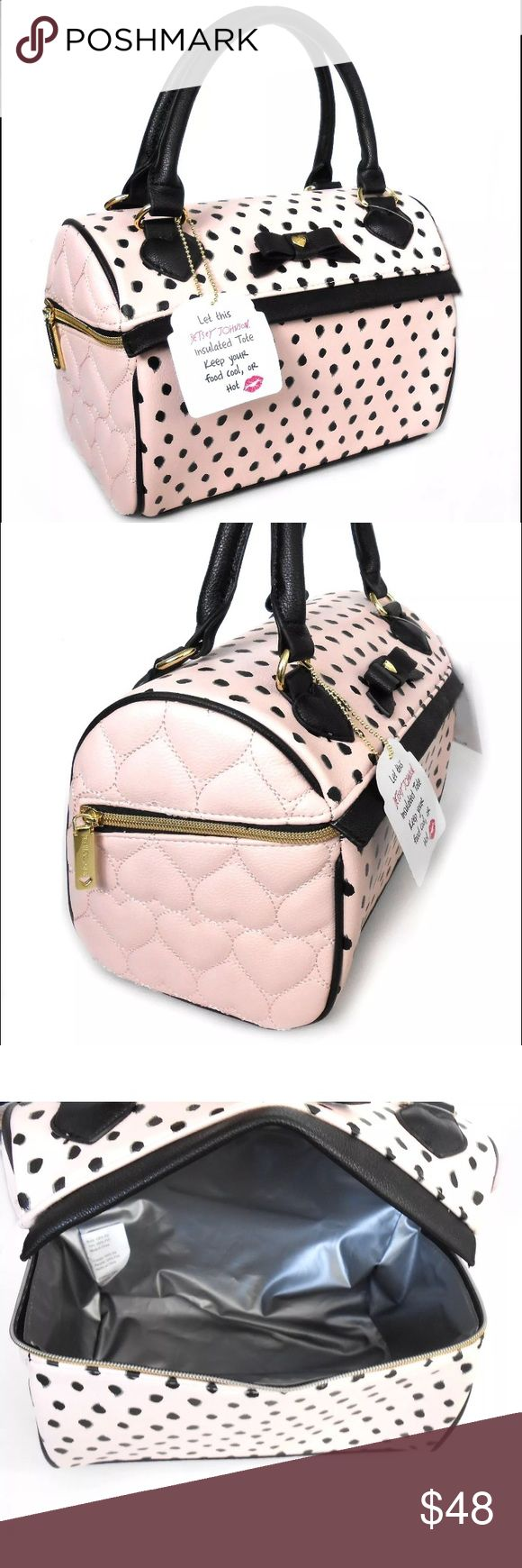 """Pink black B mine speedy lunch tote Betsey Johnson Betsey Johnson insulated lunch tote, Style: BBLT075  Color: Black, soft pink  Material: Synthetic (faux leather)   Features: Insulated zippered compartment, top handle, bow with small gold tone heart with engraved XOX Betsey logo, gold tone zipper pull with engraved Betsey Johnson logo  Measurements: 11"""" wide x 8"""" high x 7"""" deep Betsey Johnson Bags Totes"""