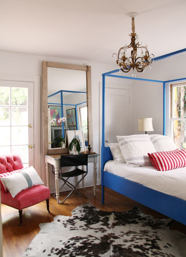 gwynnies room: Guest Room, Ideas, Interior, Beds, Heidi Merrick, Bed Frame, Bedrooms, Blue Bed