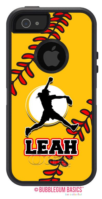 #Custom #Softball Mom Dad Yellow Ball Stitching Name Number - Name Personalized #OTTERBOX DEFENDER iPhone 5 5S 5C 4/4S #iPod Touch 5G by iselltshirts, $75.00