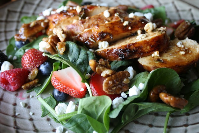 Pomegranate Glazed Chicken with Spinach and Mixed