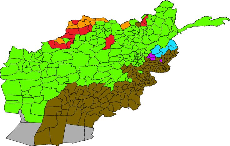 Distrikte mit der jeweils demographisch dominanten Sprache: Persisch (Dari) Paschtu Usbekisch Turkmenisch Belutschisch Nuristani Paschai // Map of Languages in Afghanistan, by district ◆Afghanistan – Wikipedia http://de.wikipedia.org/wiki/Afghanistan #Afghanistan