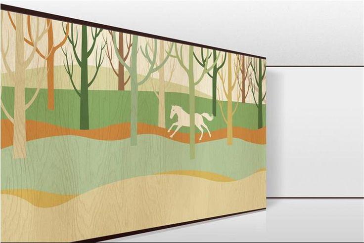 3D обои/пользовательские фото обои/Ручной ничья лес бегущей лошади/фреска/ТВ/диван/спальня/КТВ/Отель/гостиная/Детская комната