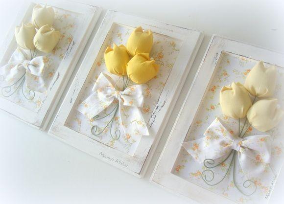 Quadrinho Provençal (madeira), em pátina c/ tulipas em tecido.  * Valor referente ao trio de quadros.  * Valor unitário: R$ 68,00 cada. R$ 204,00