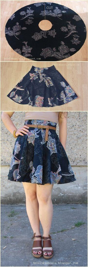 DIY TUTORIAL Jak zrobić papierowy wykrój spódniczki rozkloszowanej, z koła i 1/2 ? How to Make a Pattern for 1/2 and full Circle Skirt