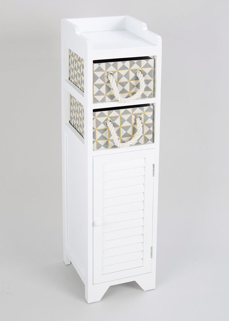 Keep your bathroom tidy with this 3 tier storage tower. The wooden tower unit in white includes 2 geometric printed drawers with rope handles and a cabinet...