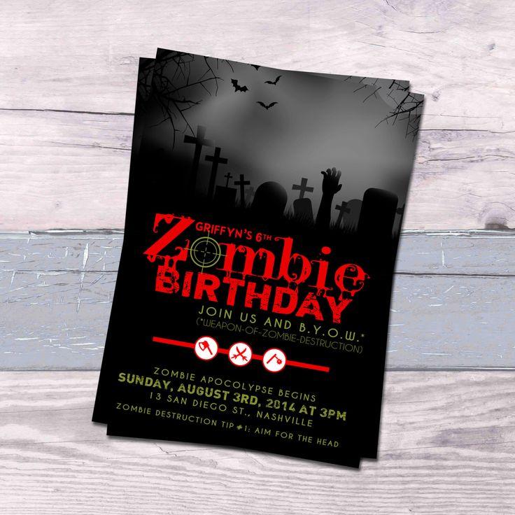 free printable camouflage birthday party invitations%0A Zombie Birthday Invitation by PinkPixelPress on Etsy https   www etsy com