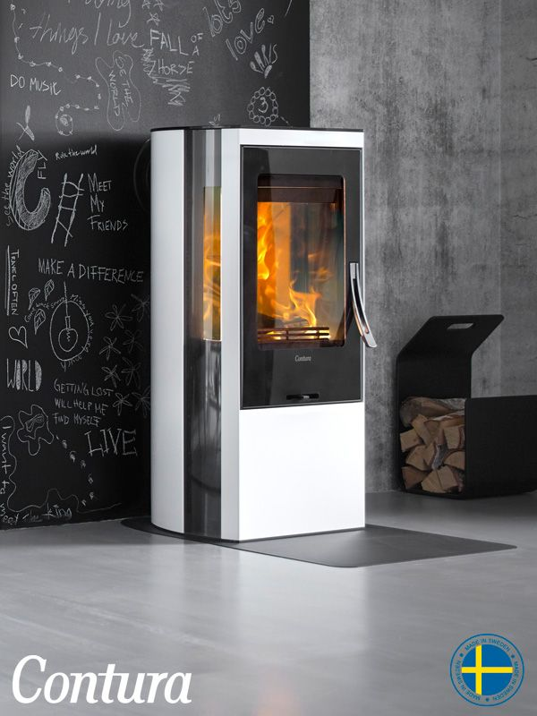 Wood burning stove Contura 35 low with glossy White steel. The door is available in cast iron or with a glass front. A real beauty!