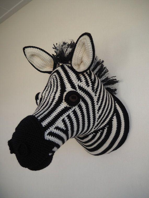 Crochet zebra tassidermia testa testa trofeo