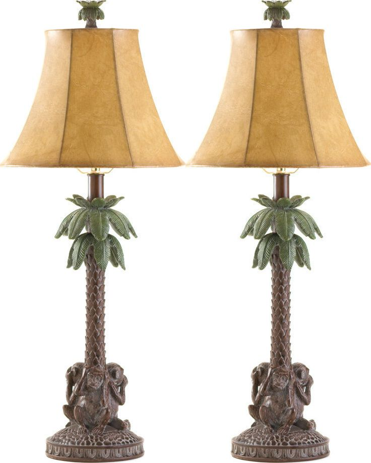 SET OF 2 TROPICAL MONKEYS PALM TREE LAMP FAST SHIP!