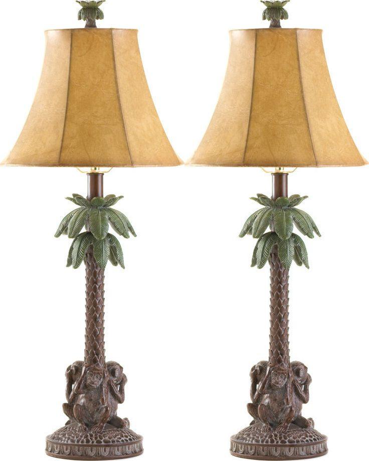 SET OF 2 TROPICAL MONKEYS PALM TREE LAMP FAST SHIP!