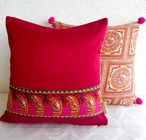 Crimson Silk Cushion Cover with Tribal Print Border