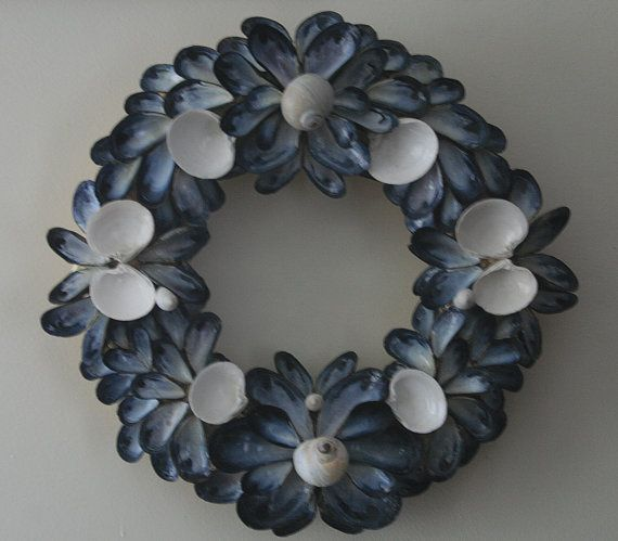 Coastal Shores Medium Blue Mussel Shell Wreath by nancylee97, $80.00