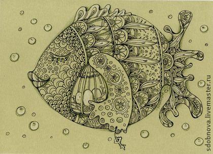 """Фантазийные сюжеты ручной работы. Ярмарка Мастеров - ручная работа. Купить картина""""Хранительница"""". Handmade. Оливковый, зеленый, графика, рыба, сказка"""