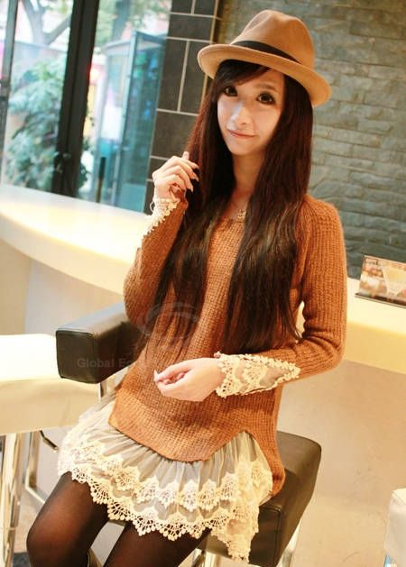 Sweet Scoop Neck Solid Color Splicing Lace Design Faux Twinset Long Sleeve Acrylic Fibers Women's Sweater | TwinkleDeals.com