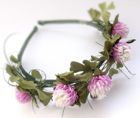 Clover handmade, Headbands with flowers, wildflowers, Headbands with clover, flowers from a fabric,Hair Care,Hair Accessories,Headpiece