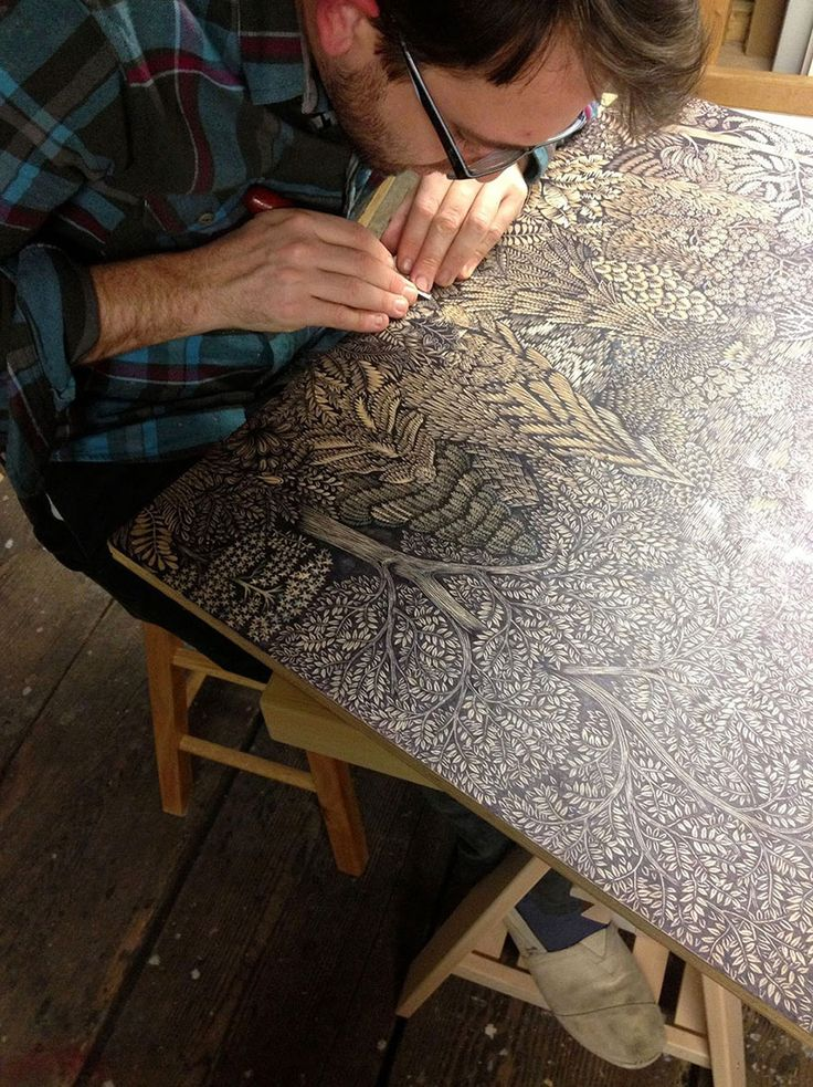 Artists spent almost 2 years carving this epic forest landscape out of wood - gorgeous