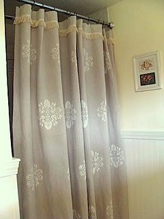 Stenciled Dropcloth Shower Curtain