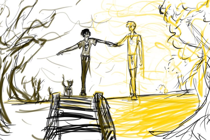 October 25, 2014- Solangelo doodle by maddy-mo on deviantART<< I really like the stark contrast between then that this picture represents