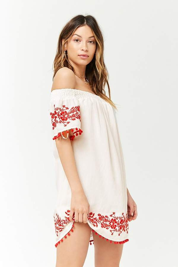 3669dc028663 This is a beautiful summer dress. I love the red embroidery work on the  sleeves and hem. #dress #embroidery #fashion #womensfashion #style #OOTD  #affiliate ...
