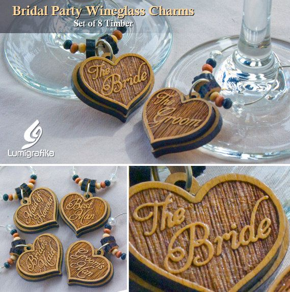Bridal Party Wineglass Charms - Set of 8