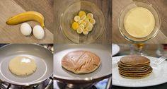 Panqueca sem farinha - Ingredientes 1 banana 2 ovos  Modo de preparo Bata no liquidificador os ovos e a banana. Coloque uma concha de massa na frigideira apenas morna. Em fogo bem baixo, espere um minutinho e vire para assar do outro lado. Sirva com mel ou uma cobertura de sua preferência