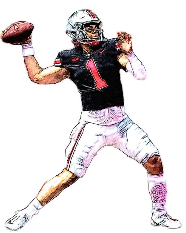 Ohio State Qb Justin Fields Football Illustration Ohio State Buckeyes Football Justin Fields