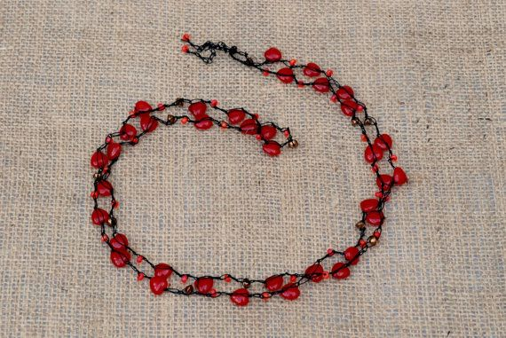 Pretty red glass heart wrap necklace.  by BijoubeadsLondon £12.50