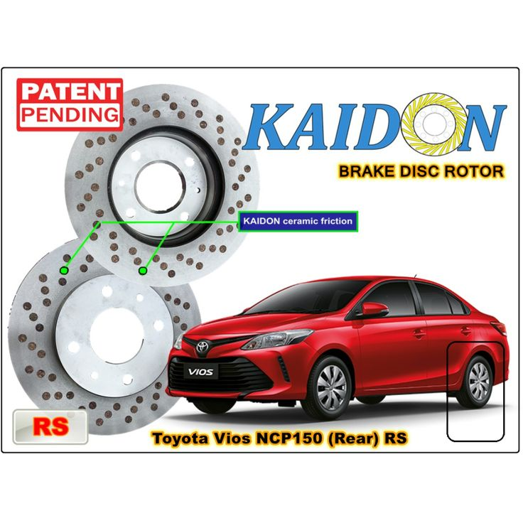 "TOYOTA VIOS NCP150 disc brake rotor KAIDON (REAR) type ""RS"