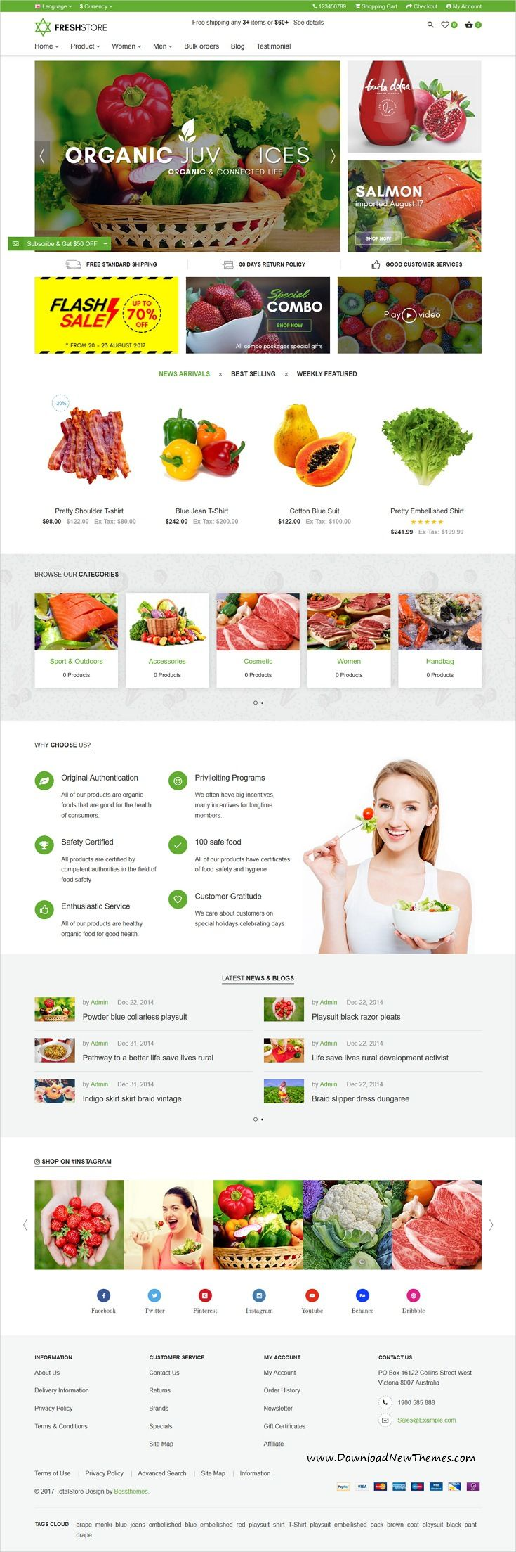 TotalStore is clean and modern design #responsive all-in-one opencart #theme for organic food #onlineshop eCommerce website with 18+ niche homepage layouts to live preview & download click on image or Visit 👆 #webdesigninspiration