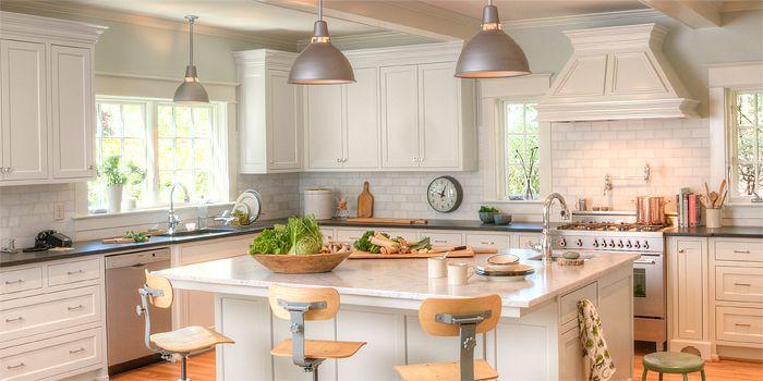 Factory Light Kitchen: Dreams Kitchens, Dreams Houses, Lights Fixtures, Schoolhouse Light, Schoolhouse Electric, Lights Kitchens, Subway Tile, Factories Lights, White Kitchens