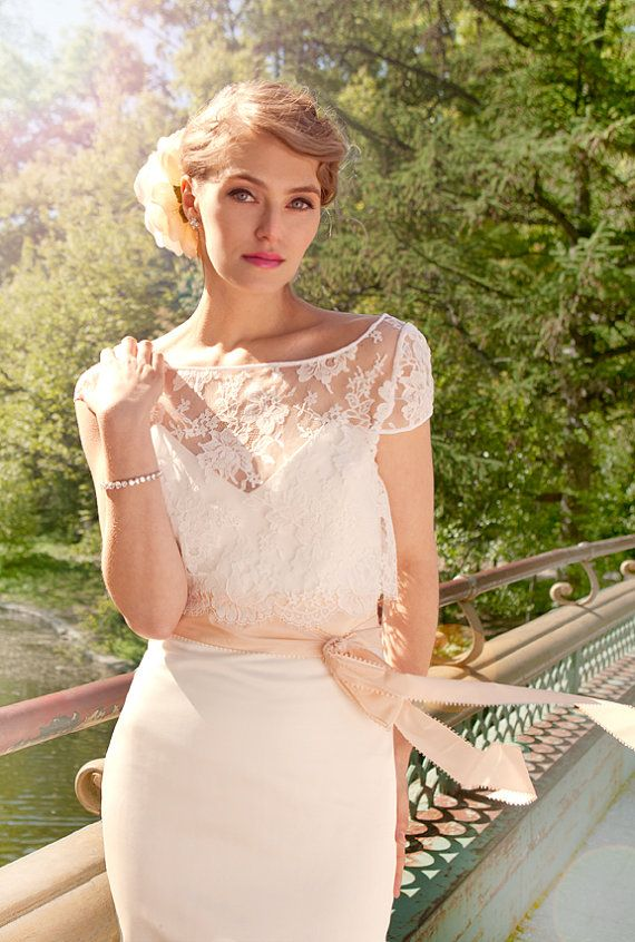 """French Lace and Duchess Satin Mermaid Wedding Gown, """"Ann-Marie"""", Cap Sleeve, Sweetheart strapless bustier, train, Mix and Match Customizable"""