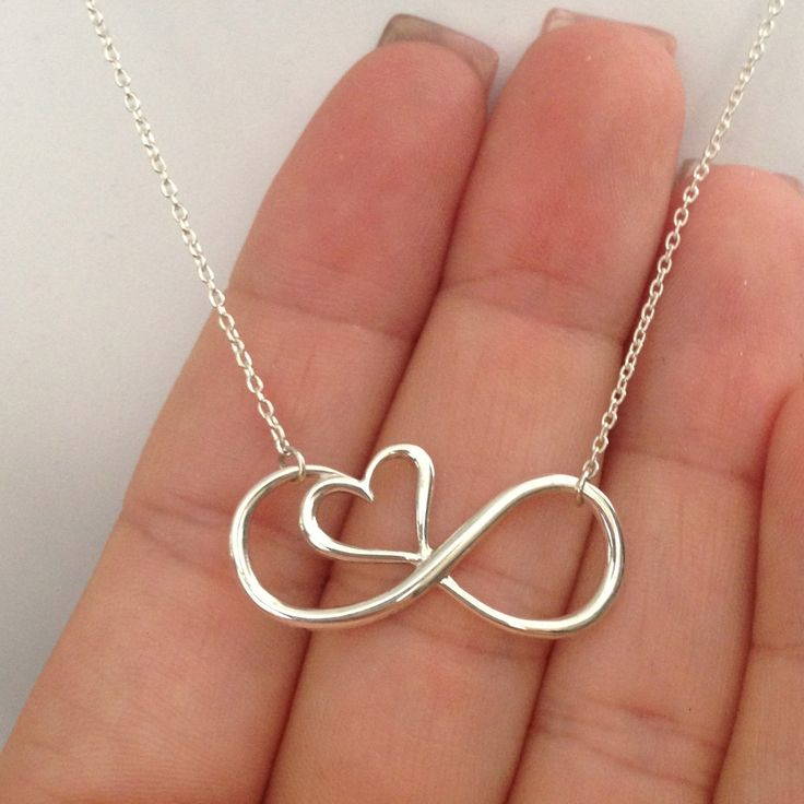 Sterling Silver Heart Infinity Necklace