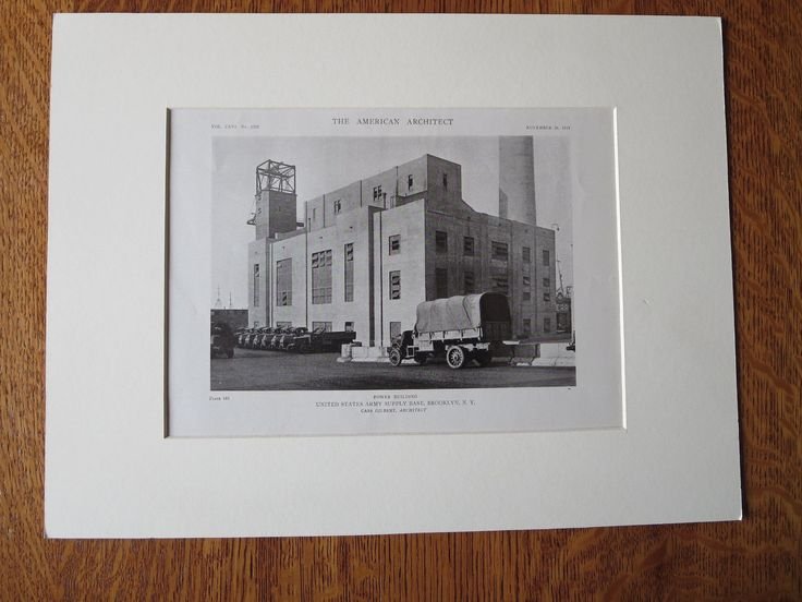 US Army Supply Base, Power Bldg, Brooklyn, NY, Cass Gilbert, 1919, Lithograph