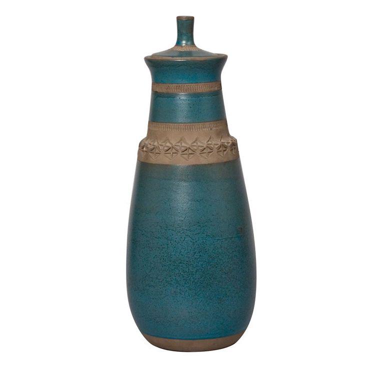 Lidded Tall Blue Ceramic Vase by Aldo Londi for Bitossi